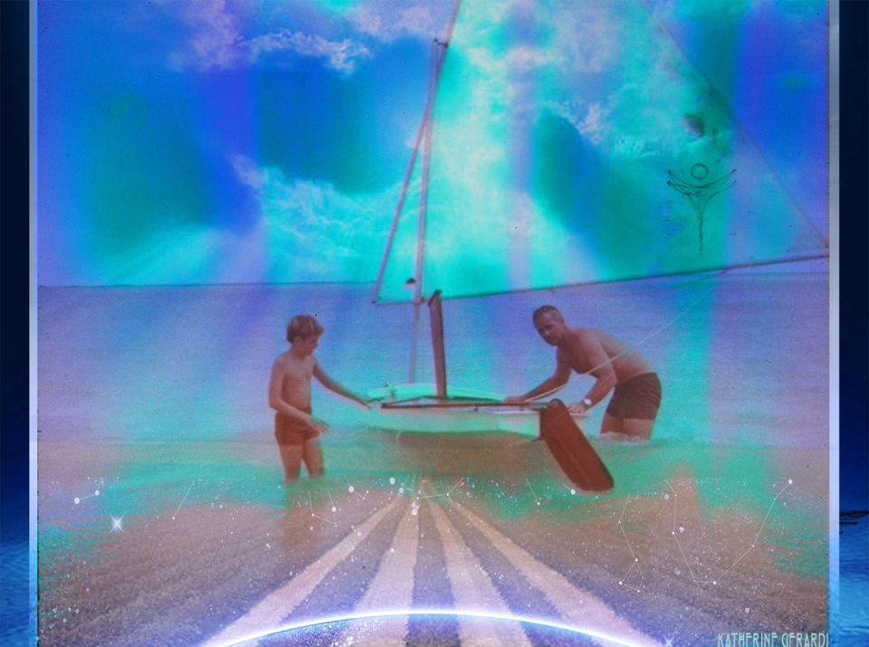 """""""Runway To The Beginning"""" by Katherine Gerardi using a photograph taken in 1972 of Greg Frucci and his Father at the beach on Bellows Air Force Base in Hawaii while his Father was teaching him how to sail a sunfish.  The """"Bermuda Longtail"""" drawing is there as well."""