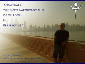 Artwork by Katherine Gerardi using a photo of Frucci in Dubai, UAE.  Words co-creatively written by Katherine and Greg.