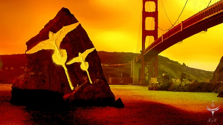 "Artwork Co-Created by Katherine Gerardi using a photograph of the Golden Gate Bridge , a painting of the Bermuda Longtail and the ""Compass Rose"" drawing by me."